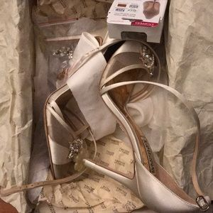 Badgley Mischka Shoes - Badgley Mischka Gala Crystal Satin Stiletto Heels